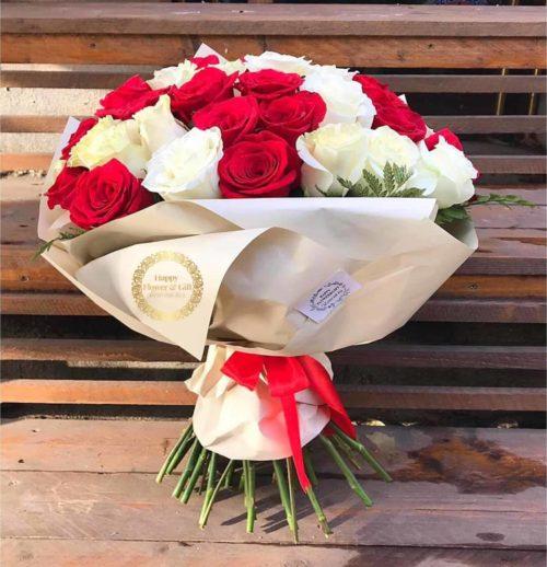 Buchet 25 Trandafiri Albi si Rosii