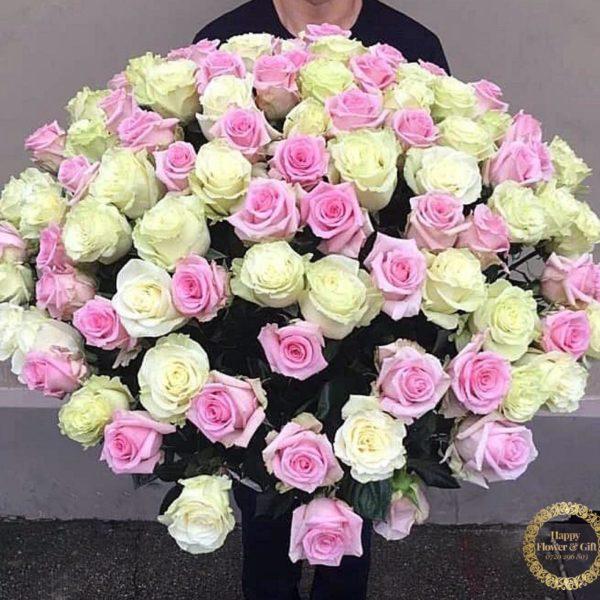 Buchet 101 Trandafiri Roz si Albi